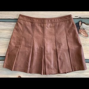 Margaret Godfrey Genuine Leather Pleated Skirt